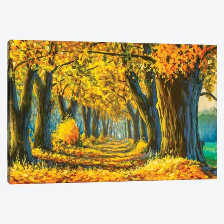 Sunny Park With Red Golden Trees Painting Canvas Print #VRY469} by Valery Rybakow Canvas Wall Art