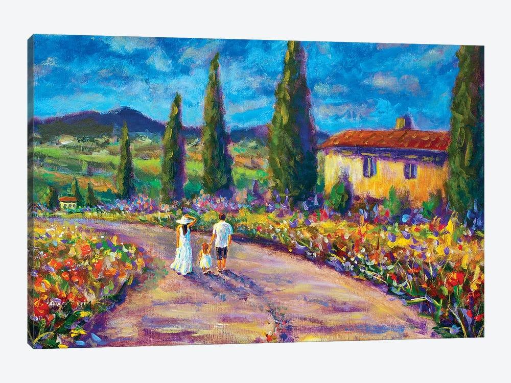 Happy Family in Summer In Tuscany by Valery Rybakow 1-piece Canvas Wall Art