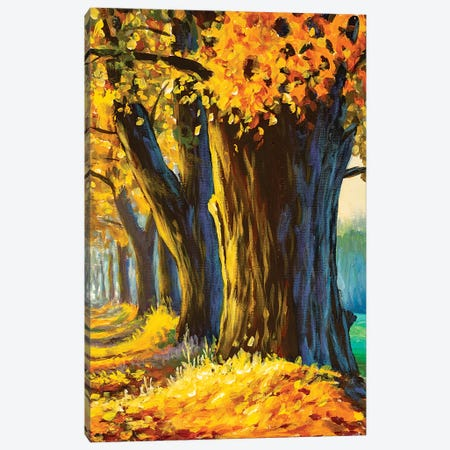 Oil Painting Big Old Trees Oak In Autumn Park Canvas Print #VRY470} by Valery Rybakow Canvas Art Print