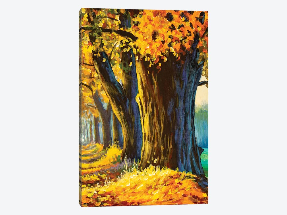 Oil Painting Big Old Trees Oak In Autumn Park by Valery Rybakow 1-piece Canvas Artwork