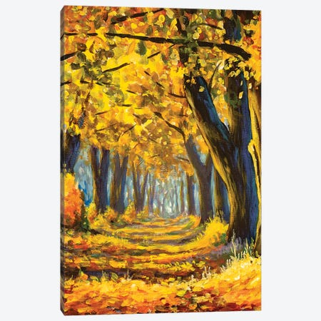 Gold Autumn Trees In Forest Impressianism Painting Canvas Print #VRY471} by Valery Rybakow Canvas Print