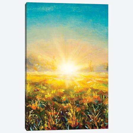 Foggy Morning Dawn Sunset Painting Canvas Print #VRY472} by Valery Rybakow Art Print