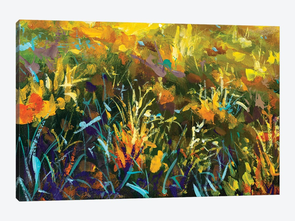 Grass Flowers In Rays Of Sun by Valery Rybakow 1-piece Canvas Print