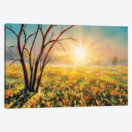 Beautiful Tree On Sunny Summer Spring Meadow Canvas Print #VRY474} by Valery Rybakow Canvas Artwork
