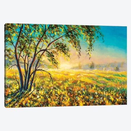 Morning Gentle Misty Rural Landscape Nature Modern Art. Canvas Print #VRY475} by Valery Rybakow Canvas Art