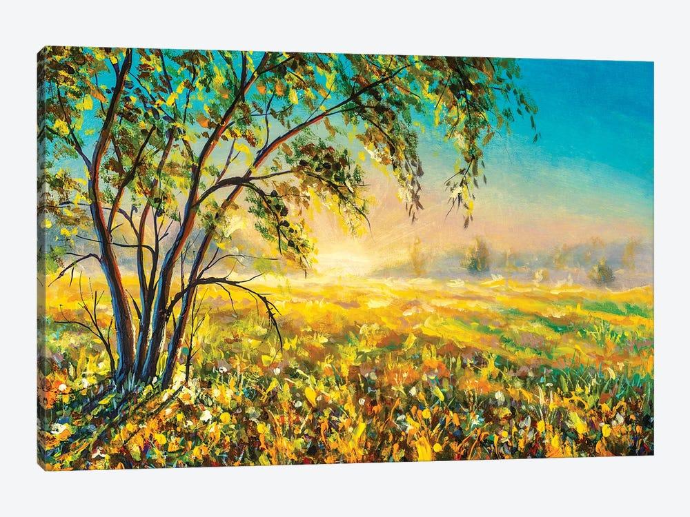 Morning Gentle Misty Rural Landscape Nature Modern Art. by Valery Rybakow 1-piece Canvas Art Print