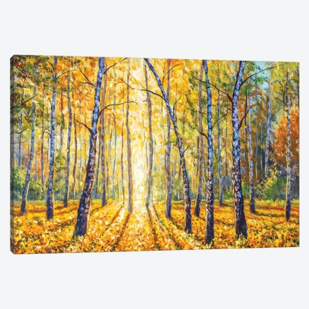 Birch Autumn Forest - Impressionism Painting Canvas Print #VRY476} by Valery Rybakow Canvas Art