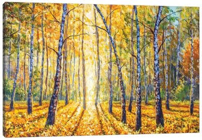 Birch Autumn Forest - Impressionism Painting Canvas Art Print