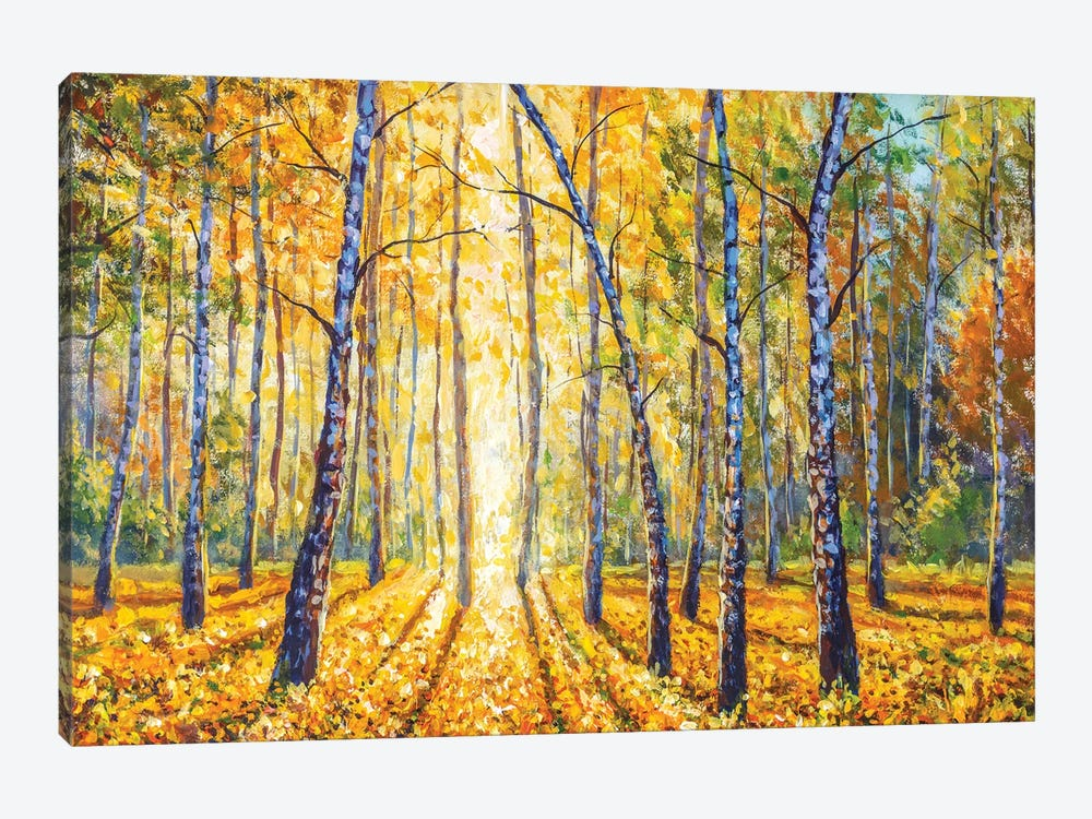 Birch Autumn Forest - Impressionism Painting by Valery Rybakow 1-piece Canvas Wall Art