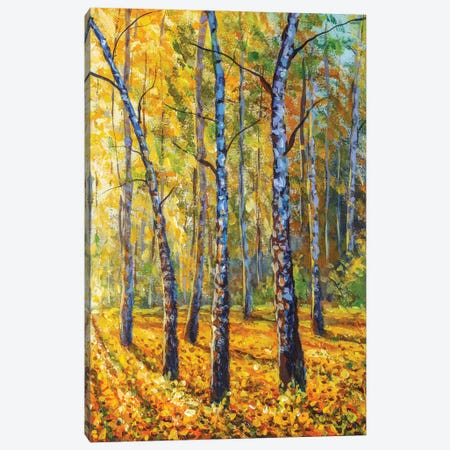 Autumn Forest With Birch Tree - Impressionism Painting Canvas Print #VRY477} by Valery Rybakow Canvas Artwork