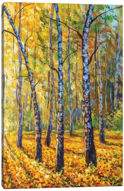 Autumn Forest With Birch Tree - Impressionism Painting Canvas Art Print
