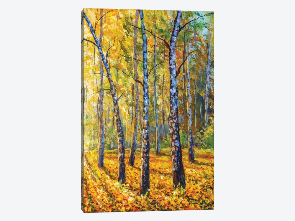 Autumn Forest With Birch Tree - Impressionism Painting by Valery Rybakow 1-piece Canvas Art Print