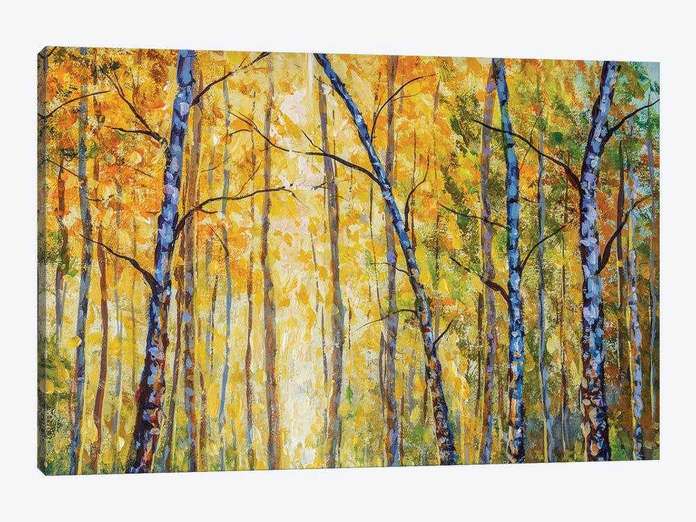 Beautiful Autumn Park With Birch Tree Modern Artwork by Valery Rybakow 1-piece Canvas Artwork