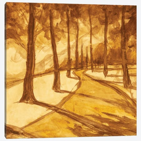 Painting Hiking Trail Road In Sunny Forest Park Alley Artwork Canvas Print #VRY479} by Valery Rybakow Canvas Art Print
