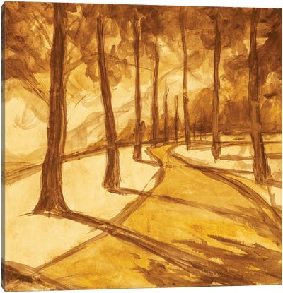 Painting Hiking Trail Road In Sunny Forest Park Alley Artwork Canvas Art Print