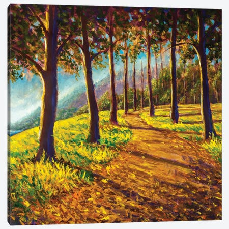 Road In Sunny Forest Park Alley Artwork Canvas Print #VRY480} by Valery Rybakow Canvas Art