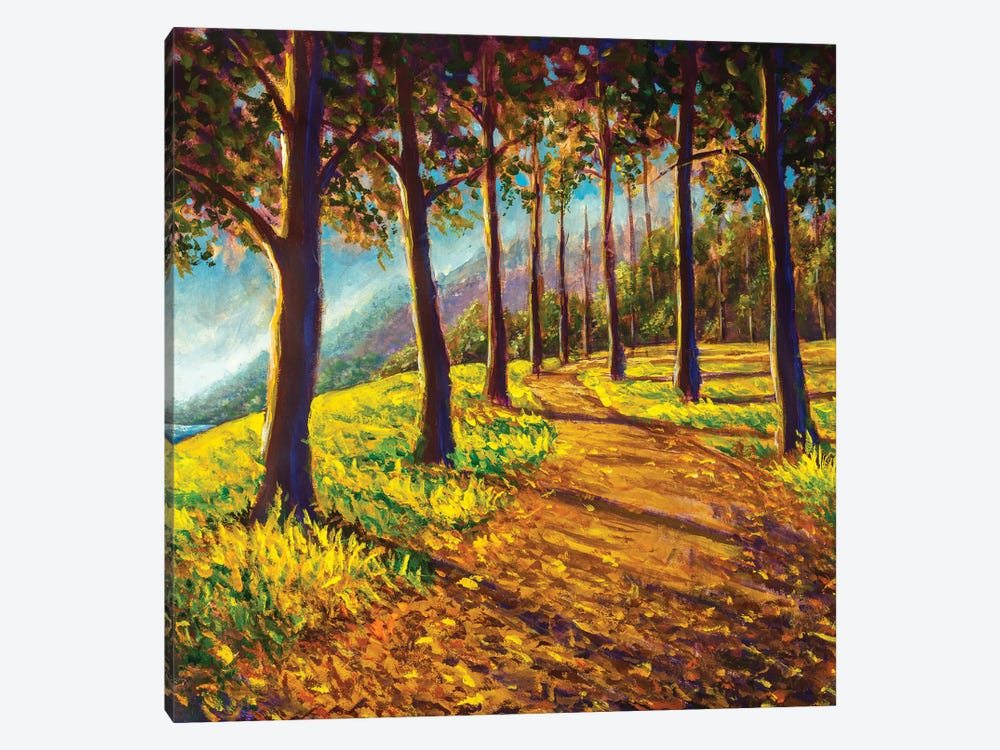 Road In Sunny Forest Park Alley Artwork by Valery Rybakow 1-piece Art Print