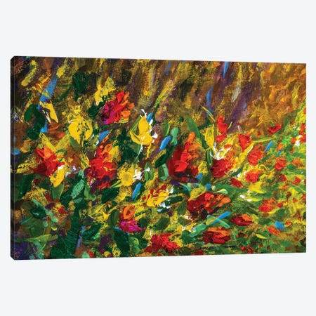 Beautiful Red Orange Flowers In Green Grass Canvas Print #VRY481} by Valery Rybakow Canvas Wall Art