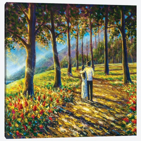 Loving Couple Are Walking Along Pathway Road In Sunny Park Canvas Print #VRY482} by Valery Rybakow Canvas Wall Art