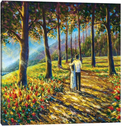 Loving Couple Are Walking Along Pathway Road In Sunny Park Canvas Art Print