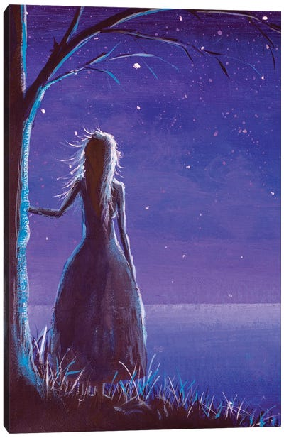 Princess Making A Wish In Night Canvas Art Print