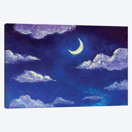 Glowing Month Moon And Clouds On The Blue Night Sky Canvas Print #VRY488} by Valery Rybakow Canvas Art