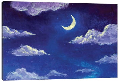 Glowing Month Moon And Clouds On The Blue Night Sky Canvas Art Print
