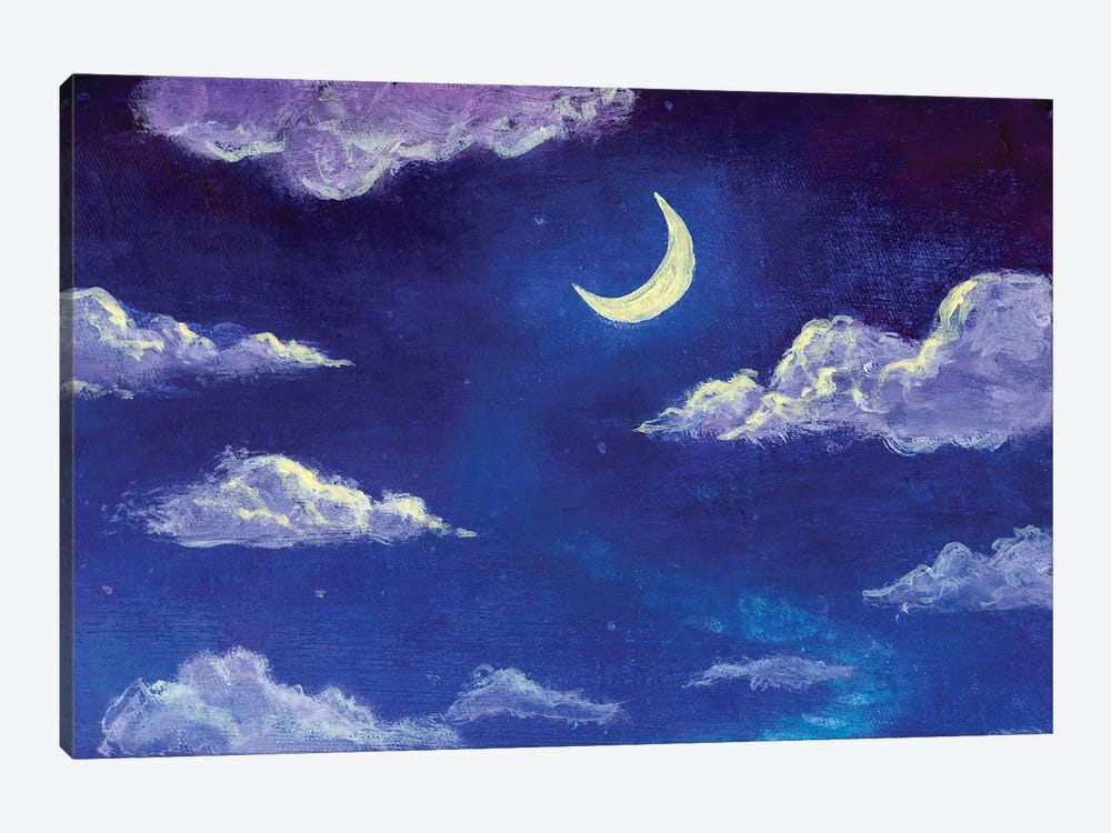 Glowing Month Moon And Clouds On The Blue Night Sky by Valery Rybakow 1-piece Art Print