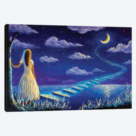 Princess Climbs Magic Steps To Moon In Night Seascape Canvas Print #VRY490} by Valery Rybakow Art Print