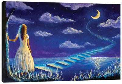 Princess Climbs Magic Steps To Moon In Night Seascape Canvas Art Print