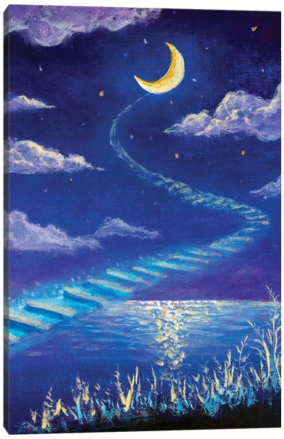 Magic Road To The Moon Canvas Art Print