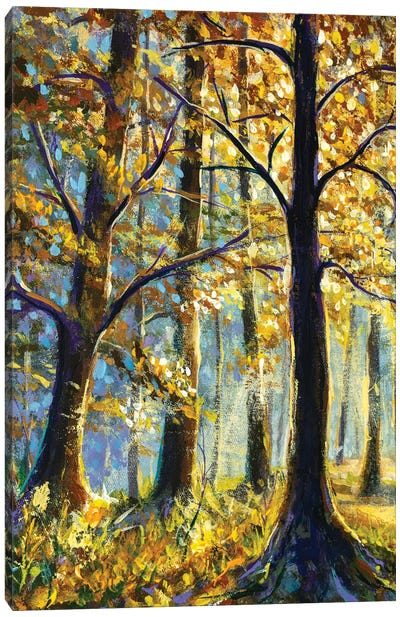 Vertical oil painting large trees in synny forest Canvas Art Print