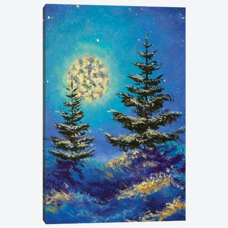 Night Christmas winter landscape with moon and snowy fir trees vertical art Canvas Print #VRY495} by Valery Rybakow Canvas Wall Art