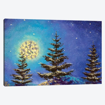 Night Christmas winter landscape with moon and snowy fir trees on the starry sky painting Canvas Print #VRY496} by Valery Rybakow Canvas Art