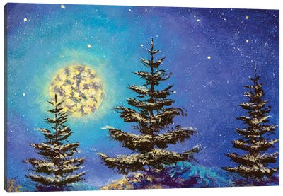 Night Christmas winter landscape with moon and snowy fir trees on the starry sky painting Canvas Art Print