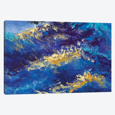 abstract blue waves Canvas Print #VRY497} by Valery Rybakow Canvas Wall Art