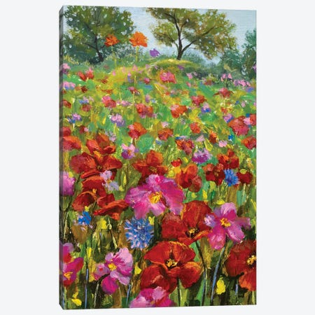 paintings red poppies, pink wildflowers in green grass Canvas Print #VRY498} by Valery Rybakow Canvas Art Print