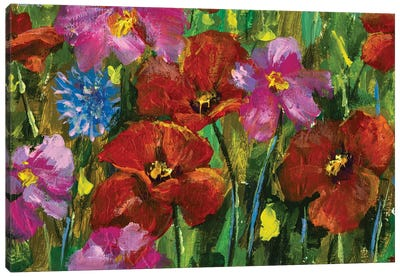 paintings red poppies, pink wildflowers in green grass art Canvas Art Print