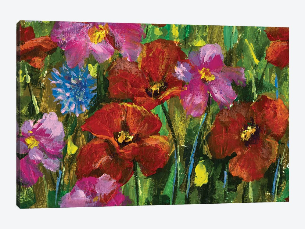 paintings red poppies, pink wildflowers in green grass art by Valery Rybakow 1-piece Canvas Wall Art