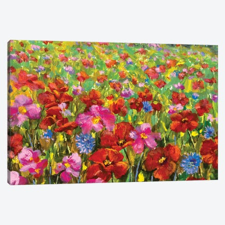 beautiful big red red poppies field flowers Canvas Print #VRY502} by Valery Rybakow Art Print