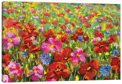beautiful big red red poppies field flowers Canvas Art Print