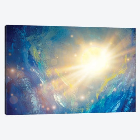 Cosmos Oil Painting Beautiful Large Glowing Planet Moon In Rays Of Sun Concept Art. Canvas Print #VRY506} by Valery Rybakow Canvas Art