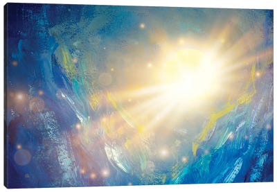 Cosmos Oil Painting Beautiful Large Glowing Planet Moon In Rays Of Sun Concept Art. Canvas Art Print