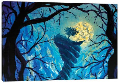 Big Moon, Tree On Top Of Terrible Mountain Fantasy Art Canvas Art Print