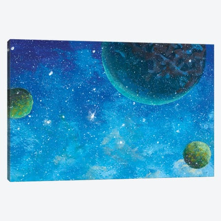 Beautiful Green Planets In Blue Starry Space Canvas Print #VRY513} by Valery Rybakow Canvas Artwork