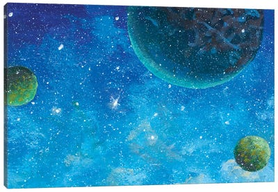 Beautiful Green Planets In Blue Starry Space Canvas Art Print