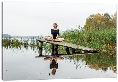 Calm And Relaxation Yoga On River Canvas Art Print