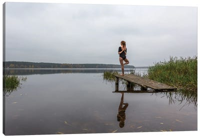 Yoga Girl On The Pond. Calm And Relaxation Canvas Art Print