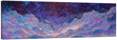 Panoramic Beautiful Landscape With Night Starry Sky Fantasy Clouds Over Mountains Hill Canvas Art Print