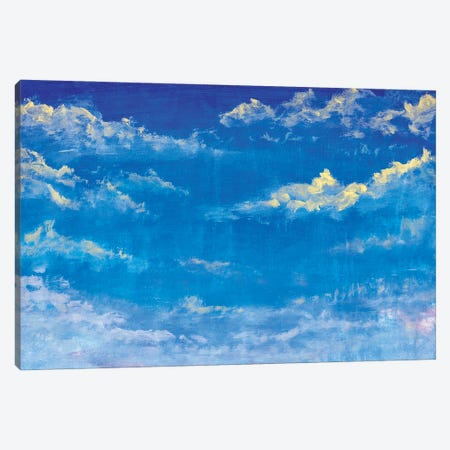 Beautiful Blue Sky With Clouds Abstract Handmade Oil Painting Canvas Print #VRY522} by Valery Rybakow Art Print